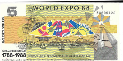 AUSTRALIA 5 Dollars 🌎 1988 World Expo Dollars 🏆 Commemorative 🌎 Hard to Find - Busy Bee Emporium