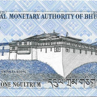 Bhutan 1 Ngultrum P -27a; UNC; 2006 🌎🐲Two Dragons 🐉🏯 Palace 🏯