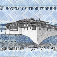 Bhutan 1 Ngultrum P -27b; UNC; 2013 🌎🐲Two Dragons 🐉🏯 Palace 🏯 - Busy Bee Emporium