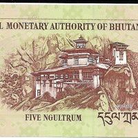 Bhutan 5 Ngultrum 🦅 P - 28a; UNC; 2006 🏯 Palace and 🐉🐉 Two Mythological Birds 🦅