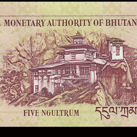 Bhutan 5 Ngultrum 🦅 P - 28b; UNC; 2011 🏯 Palace and 🐉🐉 Two Mythological Birds 🦅
