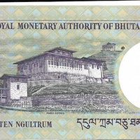 Bhutan 10 Ngultrum 🍁👑 P - 29a; UNC; 2006 👑🍁 New King Featured 🏯