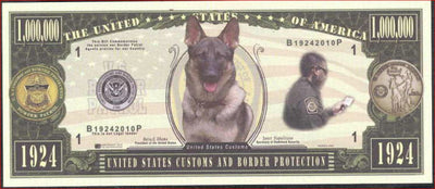 US CUSTOMS & BORDER PROTECTION 👨‍✈️🐕‍🦺👨‍✈️ Fantasy Note 💶🐕‍🦺 One Million 🐕‍🦺 BORDER DOG 🐕‍🦺💶 - Busy Bee Emporium
