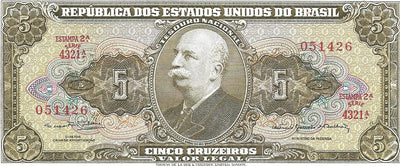 BRAZIL 5 Cruzeiros 🌎💴 P-176d, UNC; 1962, Amazon Conquest 👩 Over 50 years old - Busy Bee Emporium