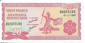 BURUNDI 20 Francs 🌎💷 P - 27d, UNC; 2007 💷🌎👩 Dancer