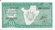 BURUNDI 10 Francs 🌎 P - 33e, UNC; (05-02-2005) SIGNATURE 💴🗺🗾 Map of Burundi - Busy Bee Emporium