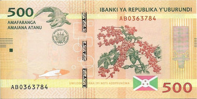 BURUNDI 500 Francs 🌎💷 P - 50a, UNC; 2015; Map of Burundi 💷🐊 CROCODILE - Busy Bee Emporium
