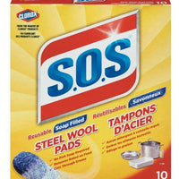 SOS STAINLESS STEEL SOAP PADS 10