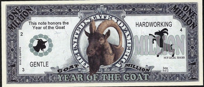 One Million Fantasy Note 💶🐐🐐 CHINESE YEAR OF THE GOAT 🐐🐐💶 - Busy Bee Emporium