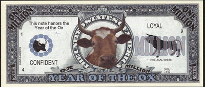 One Million Fantasy Note 💶🐂🐂 CHINESE YEAR OF THE 🐂 OX 🐂🐂💶 - Busy Bee Emporium
