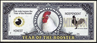 One Million Fantasy Note 💶🐓🐓 CHINESE YEAR OF THE 🐓 ROOSTER 🐓🐓💶 - Busy Bee Emporium