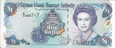 CAYMAN ISLANDS 🌎💷 1 Dollar; P -26c, AU-UNC; 2001 👑 Queen Elizabeth 👑 LOW SERIAL ⚡ - Busy Bee Emporium
