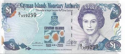 CAYMAN ISLANDS 💶 1 Dollar; P -30, AU-UNC 🐢 2003 🐢💶 Almost a solid note 999299 💶 - Busy Bee Emporium