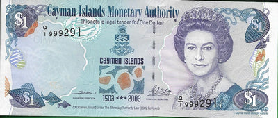 CAYMAN ISLANDS 💷 1 Dollar; P -30, AU-UNC 👑 2003 👑 Commemorative Note; Triple 999 - Busy Bee Emporium