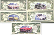 CLASSIC CAR SERIES COMPLETE SET 🚘 Fantasy Bank Note 🚗💴 Five Notes 💶🚘 - Busy Bee Emporium