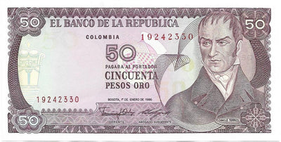 COLUMBIA 50 Pesos Oro 🌎💷 P- 425b; UNC from 1986 💷💐🌹 FLOWERS;