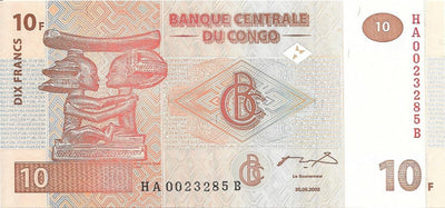 CONGO 10 Francs 🌎💷 P-93, UNC from 2003 🌎💷🦌 Watermark: Okapi Head🦌