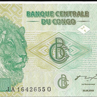 CONGO 20 Francs 🌎💷 P-94, UNC; 2003🌎💷🦁 Large Lion and 🦁 Lioness - Busy Bee Emporium