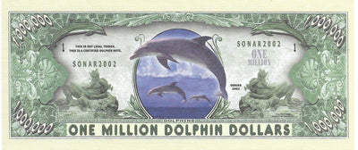 DOLPHINS 🐬 Fantasy Note 💶🐬🐬 One Million 🐬 Amazing DOLPHINS 🐬🐬💶 - Busy Bee Emporium