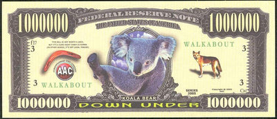 DOWN UNDER 🐨 ONE MILLION FANTASY BANKNOTE 🐨WALKABOUT💶 - Busy Bee Emporium