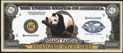 GIANT PANDA 🐼 One Million Fantasy Note 🐼 Endangered Species Series - Busy Bee Emporium