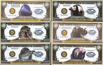 ENDANGERED SPECIES SERIES🦒🐘  ONE MILLION FANTASY BANKNOTE 🐘🦒COMPLETE SET OF SIX💶
