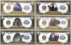 ENDANGERED SPECIES SERIES🦒🐘  ONE MILLION FANTASY BANKNOTE 🐘🦒COMPLETE SET OF SIX💶 - Busy Bee Emporium