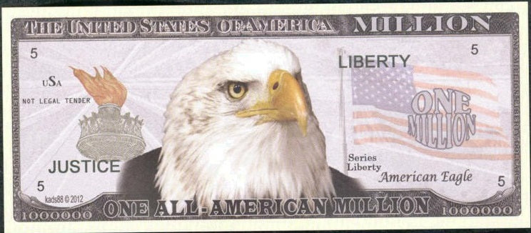 ALL - AMERICAN Million 💶🦅 Fantasy Note 🦅💴 Eagle and Mount Rushmore 🌄🦅 - Busy Bee Emporium