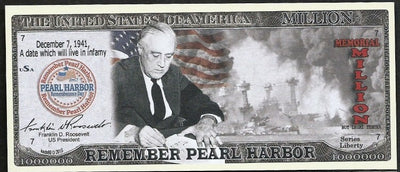 REMEMBER PEARL HARBOR ✝✝ ONE MILLION FANTASY BANKNOTE ✝ ✝MEMORIAL💶