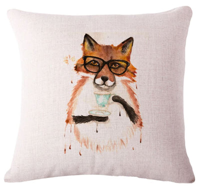 🦊FOX SIPPING TEA ☕COVER, Package:1 PCS Cushion Cover - Busy Bee Emporium
