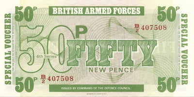 BRITISH ARMED FORCES 🌎💷 50 Pence PM - 49 💷🌎 UNC from 1972