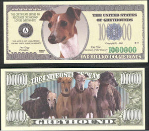 GREYHOUNDS 🐕🐶 Million Note 💴🐶🐕 Fantasy Note - Busy Bee Emporium