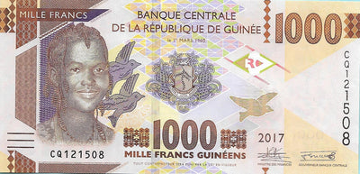 GUINEA 1000 Francs 💴 P - NL; UNC; 2017 💴👩 Young Woman; Dump Trucks