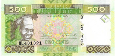GUINEA 500 Francs 💴🍌 P - 47; UNC; 2015 💴🍌👩 Young Woman