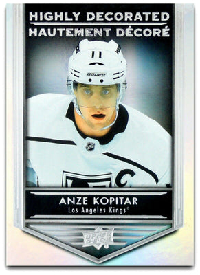 Tim Horton's Upperdeck Hockey Insert: Highly Decorated: HD - 4 Anze Kopitar - Busy Bee Emporium