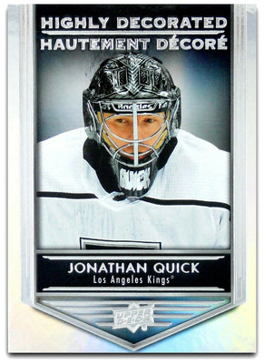 Tim Horton's Upperdeck Hockey Insert: Highly Decorated: HD - 9 Jonathan Quick