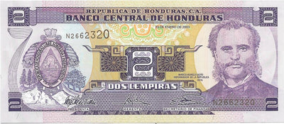 HONDURAS 2 Lempiras P - 80Ad 💷 UNC; 2003 💷 Port of Amapala 🌄 Mountain Scene - Busy Bee Emporium