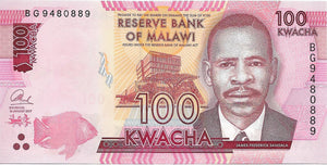 MALAWI 100 Kwacha 🐟 P - 65c 💶 UNC; 2017, James Sangala 🐟 FISH 🐠 - Busy Bee Emporium