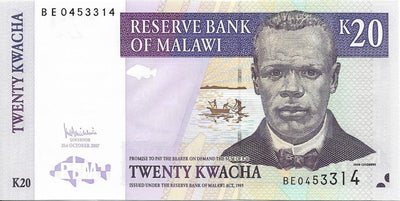 MALAWI 20 Kwacha 💷 P - 52c; UNC; 2007 🐟🐠 FISH and 🌿 Tea Plantation - Busy Bee Emporium