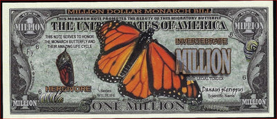 MONARCH BUTTERFLIES  🦋 Fantasy Note 💶🦋 One Million 🦋 MONARCH BUTTERFLIES 🦋💶 Wildlife Series - Busy Bee Emporium