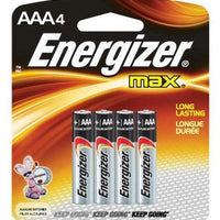 ENERGIZER MAX BATTERIES - AAA - 4 PACK