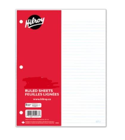 Hilroy 100 ruled sheets