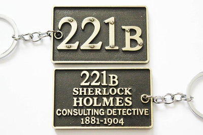 SHERLOCK HOLMES 221B - KEY CHAIN - BRASS FINISH - Busy Bee Emporium
