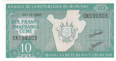 BURUNDI 10 Francs 🌎 P - 33e, UNC; (01-11-2007) SIGNATURE 💴🗺🗾 Map of Burundi - Busy Bee Emporium