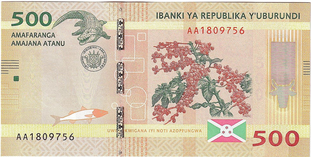 "BURUNDI 500 Francs 🌎💷 P - 50a, UNC; 2015; 1st Prefix ""AA""; Map of Burundi 💷🐊 CROCODILE - Busy Bee Emporium"