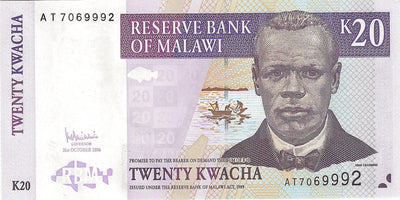 MALAWI 20 Kwacha 💷 P - 52b; UNC; 2006 🐟🐠 FISH and 🌿 Tea Plantation