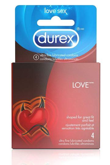 DUREX - LOVE LUBRICATED CONDOMS 4 PACK
