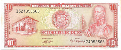 PERU 10 Soles de Oro 🌎💴🛶 P-100c, UNC; 1972 🛶 BOATS in Bay - Busy Bee Emporium