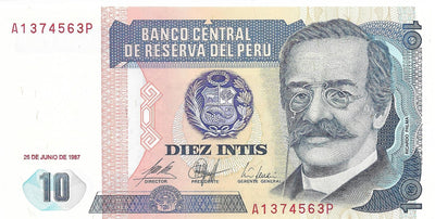 PERU 10 Intis, P- 129 🌎 UNC from 1987; FIRST