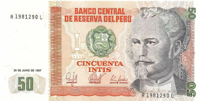 PERU 50 Intis 🌎 P- 131b, UNC from 1987; ⚡FIRST